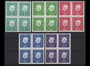 302-306 Heuss 5 Werte, Viererblöcke, Satz komplett postfrisch **