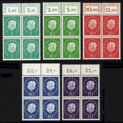 302-306 Heuss 5 Werte, Oberrand-Viererblock, Satz **