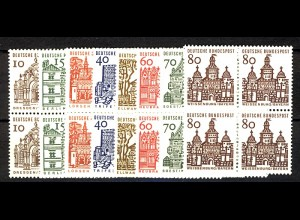 454-461 Bauten 8 Werte, Viererblöcke, Satz ** postfrisch