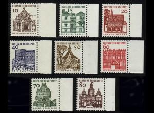 454-461 Bauten 8 Werte, Seitenrand rechts, Satz **