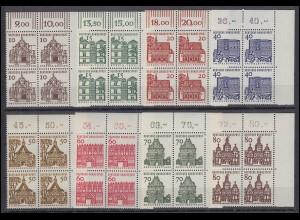 454-461 Bauten 8 Werte, Eckrand-Viererblock o.r. Satz **