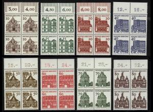 454-461 Bauten 8 Werte, Oberrand-Viererblöcke, Satz **