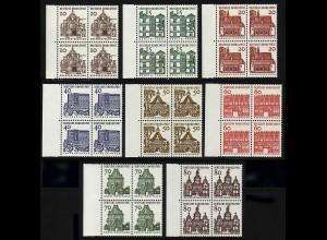 454-461 Bauten 8 Werte, SR-Viererblöcke links, Satz **