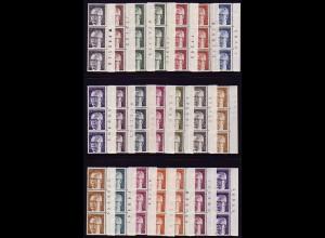 635 ff Heinemann 21 Werte, 3er-Streifen mit RZ, Satz **