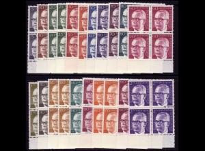 635 ff Heinemann 21 Werte, Unterrand-Viererblöcke **