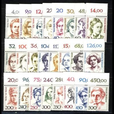 1304 ff Frauen, 24 Werte aus 100er-Bogen komplett, alle Oberrand **