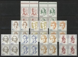 1433ff Frauen aus Zehnerbogen in DM 9 Werte Viererblöcke **
