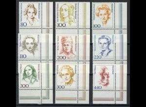 1433ff Frauen aus Zehnerbogen in DM 9 Werte Ecke unten rechts **