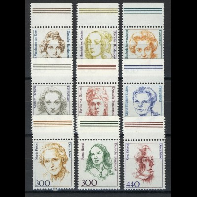 1433ff Frauen aus Zehnerbogen in DM 9 Werte Oberrand **
