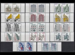 2298 ff SWK 14 Werte mit Euro-Währung komplett, waagerechte Paare **
