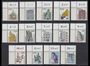 2298 ff SWK 14 Werte mit Euro-Währung komplett, Ecken oben links **