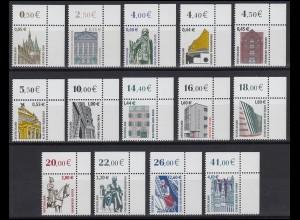 2298 ff SWK 14 Werte mit Euro-Währung komplett, Ecken oben rechts **