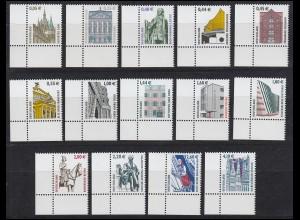 2298 ff SWK 14 Werte mit Euro-Währung komplett, Ecken unten links **