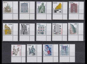 2298 ff SWK 14 Werte mit Euro-Währung komplett, Ecken unten rechts **