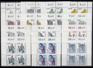 2298 ff SWK 14 Werte mit Euro-Währung komplett, Viererblock oben **