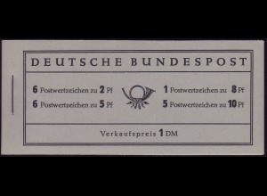 MH 3 Heuss 1956 - RLV I: 1. Heftchenblatt beide Leisten gelboliv durchgehend, **