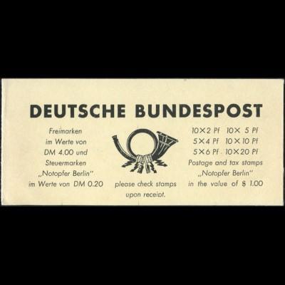I bb Bauten- und Notopfer-Freimarkenheftchen 1950, Type bb, ohne Inhalt