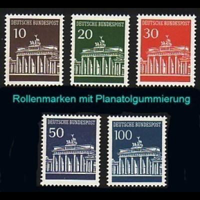 506-510w Brandenburger Tor, Satz UNGERADE Nr. Planatol-Gummierung **