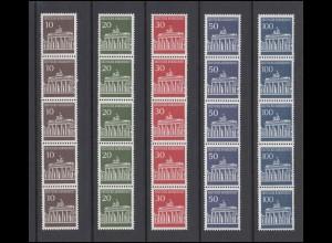 506-510w Brandenburger Tor, Satz Planatol-Gummierung im 5er-Streifen **