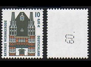 2139 SWK 10 Pf, 5er-Streifen - seltene Teilauflage mit tiefschwarzer Nummer **