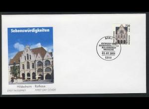 2197 SWK 720/3,68 Hildesheim 2001 mit Nummer FDC Bonn