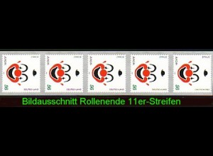 2272 Europa sk - Rollenende als 11er-Streifen 5-10 mit rotem Endstreifen, **