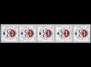 2272 Europa Clown selbstklebend - 5er mit GERADER Nummer, ET-O 4.7.2002