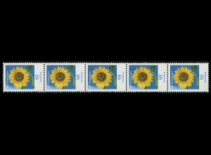 2434 Blume 95 Cent mit MDF Strich DURCHGEHEND, 5er-Streifen **