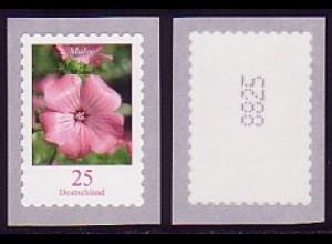 2513a Blume 25/dunkel, Marke mit Nummer aus 10000er-Rolle, ** postfrisch