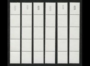 2964 Drei Cent je ein 5er-Streifen mit Nr. Type I / II / III gerade + ungerade