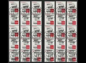 2964 Drei Cent 6 x 5er + Nr. in Type I / II / III gerade/ungerade, ESST Bonn