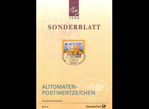 3 Posthörner - Sonder-ETB S/1999 mit ATM