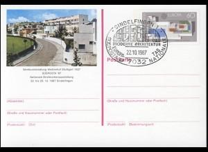 PSo 14 SÜDPOSTA Sindelfingen 1987, ESSt Europatag Architektur 22.10.87