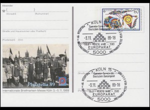 PSo 19 PHILATELIA Köln 1989, ESSt 40 Jahre Europarat 3.11.89