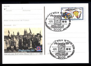 PSo 19 PHILATELIA Köln 1989, ESSt Messe-Symbol 3.11.89