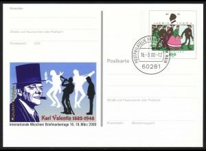 PSo 65 Messe MÜNCHEN / Karl Valentin, gestempelt VS-O Frankfurt 16.03.2000