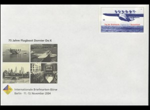 USo 85 Briefmarken-Börse Berlin 2004 und Flugboot Dornier Do X, **