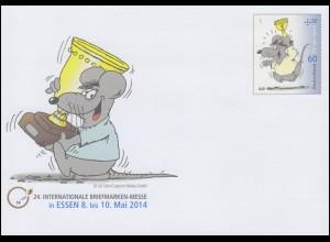 USo 325 Briefmarken-Messe Essen - Uli Stein: Pokalmaus 2014, **