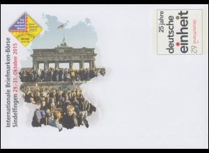 USo 376 Briefmarken-Börse Sindelfingen - Deutsche Einheit 2015, **