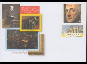 USo 382 200. Geburtstag Maler Adolph von Menzel 2015, **
