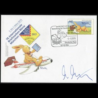 Sonderumschlag München Hase Felix, ESSt München, Autogramm Annette Langen