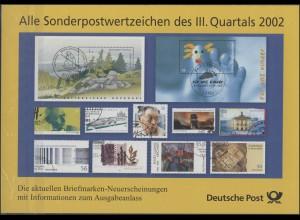 Sonderpostwertzeichen des III. Quartals 2002 mit Ersttagssonderstempel