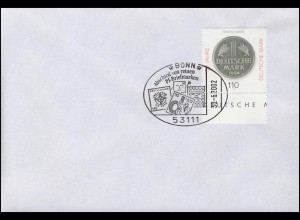 Euro-Einführung: Abschied von Pf-Briefmarken, mit MiNr. 1996, SSt Bonn 30.6.2002