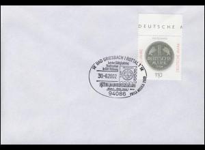 Euro-Einführung: Letzttag Briefmarken DM-Währung SSt Bad Griesbach 30.6.02
