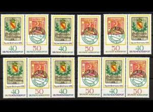 980-981 Tag der Briefmarke 1978, 4 Zusammendrucke + 2 Ezm, Zusammendruck-Set **