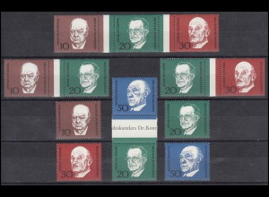 554-557 aus Block 4 Adenauer, 4 ZD + 4 EZM, Zusammendruck-Set **