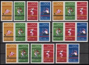 734-737 aus Block 8 Olympia Sommerspiele München 1972, 6 ZD + 4 Ezm, Set **