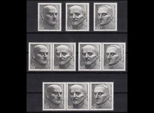 871-873 aus Block 11 Friedensnobelpreisträger 1975, 3 ZD + 3 Ezm, ZD-Set **