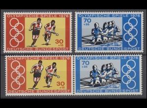 888-889 aus Block 12 Olympische Spiele Montreal 1976 mit 1 ZD + 2 Ezm, Set **