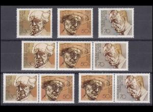 959-961 aus Block 16 Nobelpreisträger 1978, 3 ZD + 3 Ezm, Zusammendruck-Set **